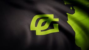 Animation waving flag symbol of professional eSports team OpTic Gaming. A world-class cyber sports team. Editorial use. Only stock photos