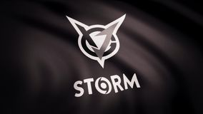 Animation waving flag symbol of professional eSports team VGJ Storm. A world-class cyber sports team. Editorial use only.  royalty free stock image