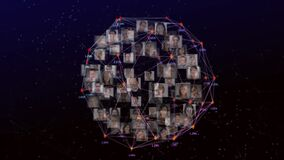 Digital composite video of web of connections with numbers and pictures of people