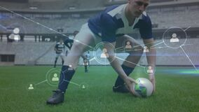 Animation of web of connections with social icons over two multi-ethnic rugby teams playing rugby