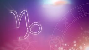 Capricorn zodiac sign and zodiac wheel on purple to pink background. Animation of a white outline of the Capricorn zodiac sign and spinning zodiac wheel royalty free illustration