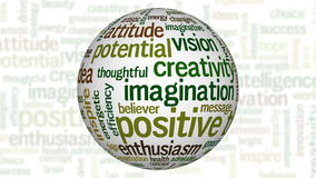 Animation of white sphere with positive thinking tag cloud