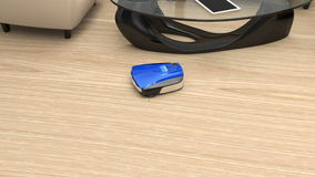 Animation of wireless robotic vacuum cleaner back to charging station stock footage