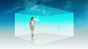 Animation of woman presenting the weather Stock Photos