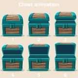 Animation wood Treasure chest Royalty Free Stock Photos