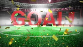 Goal scored in football match and confetti. Animation of a word Goal! in red capital letters falling down with fireworks and golden confetti falling in front of stock illustration