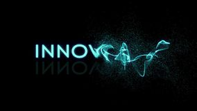 Animation of the word of innovation. The word appears from virtual particles royalty free illustration