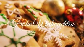 Frohe Weihnachten written over Christmas cookies