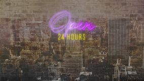 Open 24 hours sign in purple and yellow neon on cityscape. Animation of the words Open 24 hours in purple and yellow flickering neon on a modern cityscape royalty free illustration