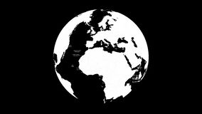 Animation of world globe spinning around. Globe spinning around in an endless loop. nimation with optional luma matte