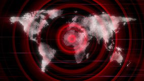 Animation with world map and lights in motion, loop HD 1080p stock footage