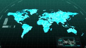 Animation world map showing major continents of America Asia Europe Africa Australia in digital computer hologram technology