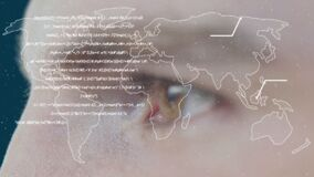 Animation of a world map with words appearing over eyes of Caucasian man