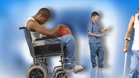 Animation of a young man in hospital and recovered. Concept of recovery