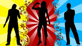 Animation of young people silhouettes singing and dancing. Animation of two men and a woman silhouettes singing and dancing in different backgrounds stock video