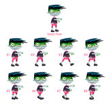 Animation of Zombie walking. Eight walking frames + 1 static pose. Vector cartoon isolated character/frames Royalty Free Stock Photos