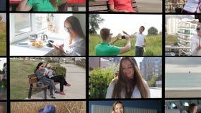 Animations-Zusammensetzung der Anwendung von Smartphone Technologi-Konzept stock footage