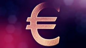 Animationsikone oder Emblem des Eurologos Finanzhintergrund gemacht von den Gl?henpartikeln als vitrtual Hologramm Gl?nzende Schl vektor abbildung