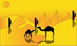 Animationslandschaft: Wüste, Wohnwagen von Kamelen Auch im corel abgehobenen Betrag - Eine heiße Wüstenlandschaftsillustration -  lizenzfreie abbildung