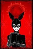 Animationsporträt der Frau in einem Latexklagen- und -maskenkaninchen lizenzfreie abbildung