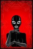 Animationsporträt der Frau in einer Latexklage und -maske stock abbildung
