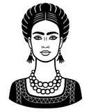 Animationsporträt der jungen schönen mexikanischen Frau mit einer traditionellen Frisur vektor abbildung