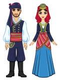 Animationsporträt einer Familie in der altgriechischen Kleidung volles Wachstum vektor abbildung