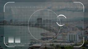 Animationssicherheitsbrummen, Kamera oder Hologrammscannentechnologieverschluß auf Küstenstadt im Technologiekonzept lizenzfreie abbildung