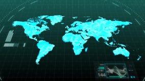 Animationsweltkarte, die bedeutende Kontinente von Amerika asiatisch-europäisches Afrika Australien in der Digitalrechnerhologram stock abbildung