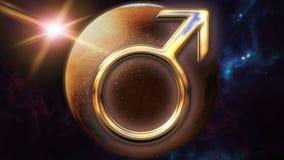 Animato guasta il simbolo ed il pianeta dell'oroscopo dello zodiaco 3D che rende 4k stock footage