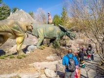 Animatronic恐龙展览 免版税库存照片