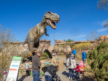 Animatronic Dinosaurs exhibit. S at the Prehistoric Park section of the Calgary Zoo on April 17, 2015. The Prehistoric Park section recalls Alberta's dinosaur Stock Image