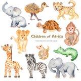 Animaux africains de bande dessinée mignonne d'aquarelle illustration de vecteur