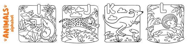 Animaux alphabet ou ABC Ensemble de livre de coloriage illustration de vecteur