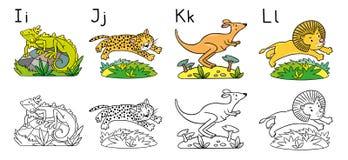 Animaux alphabet ou ABC Livre de coloration illustration libre de droits