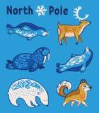 Animaux arctiques réglés dans le style de bande dessinée Images stock