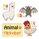 Animaux d'alphabet d'A à C Photos stock