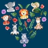 Animaux d'amis de jungle d'aquarelle, Afrique, feuilles tropicales Images libres de droits