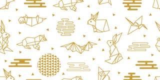 Animaux d'Origami Modèle sans couture de vecteur avec des lièvres, renards, loutres illustration libre de droits