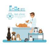 Animaux dans le coffret de l'hôpital de vétérinaire Illustration de vecteur Photographie stock