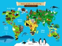 Animaux de carte du monde L'Europe et l'Asie, sud et l'Amérique du Nord, l'Australie et les animaux de l'Afrique tracent l'illust illustration de vecteur