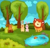 Animaux de dessin animé dans la jungle Images stock