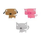 Animaux de ferme de chat de porc de chien Photos libres de droits
