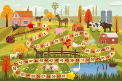 Animaux de ferme jeu de société, vache, taureau, mouton, coq, poulet, chien, chat, RAM, chèvre, cheval, canard, oie, dinde, ferme illustration de vecteur