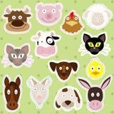 Animaux de ferme mignons - ensemble d'illustration Photos libres de droits