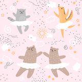 Animaux de forêt dansant le modèle sans couture de ballet Les enfants sauvages d'enfants de nature de bande dessinée mignonne sou Image stock