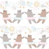 Animaux de forêt dansant le modèle sans couture de ballet Les enfants sauvages d'enfants de nature de bande dessinée mignonne sou Photos libres de droits