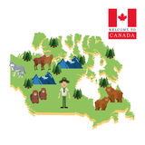 Animaux de forêt Icône de Canada Conception de bande dessinée Illustrat de Colorfull Photo stock
