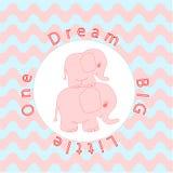 Animaux de mère et de bébé d'affiche de bébé de décoration de mur de pièce de crèche, éléphant de bébé de bande dessinée Photo stock