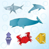 Animaux de mer d'origami Illustration de Vecteur